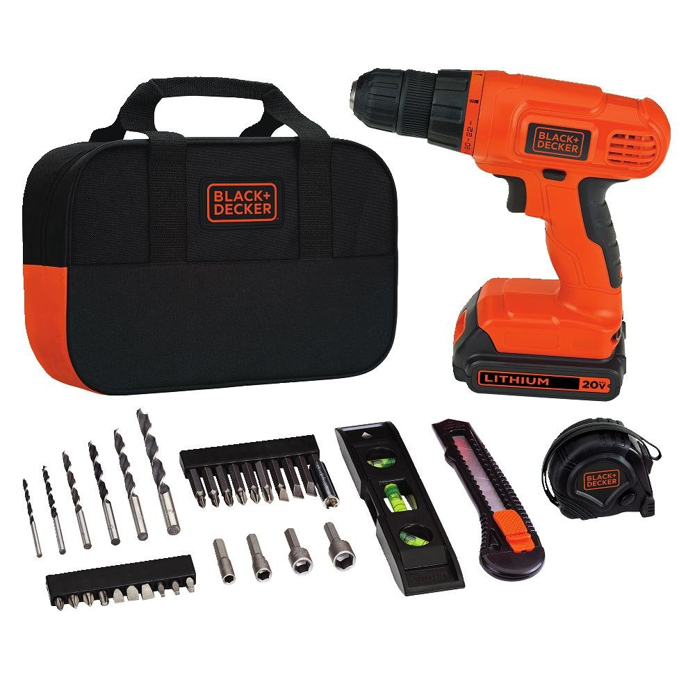 BLACK+DECKER 20V MAX Drill & Home Tool Kit, 34 Piece (BDCD120VA)