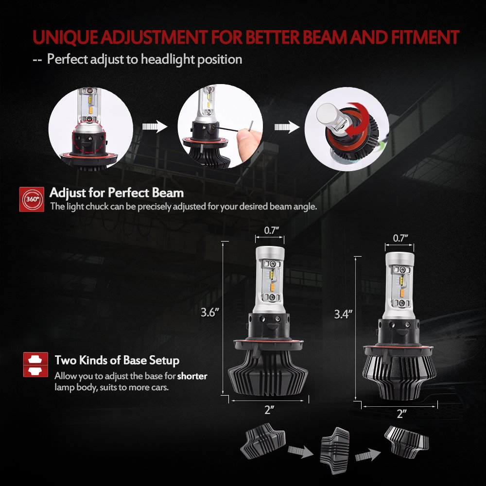 MICTUNING DUAL-COLOR Series LED Headlight Bulbs Conversion Kit - H13 (9008) High/Low Beam 100W 8000LM, Adjustable Chuck and Base, NOISE-FREE