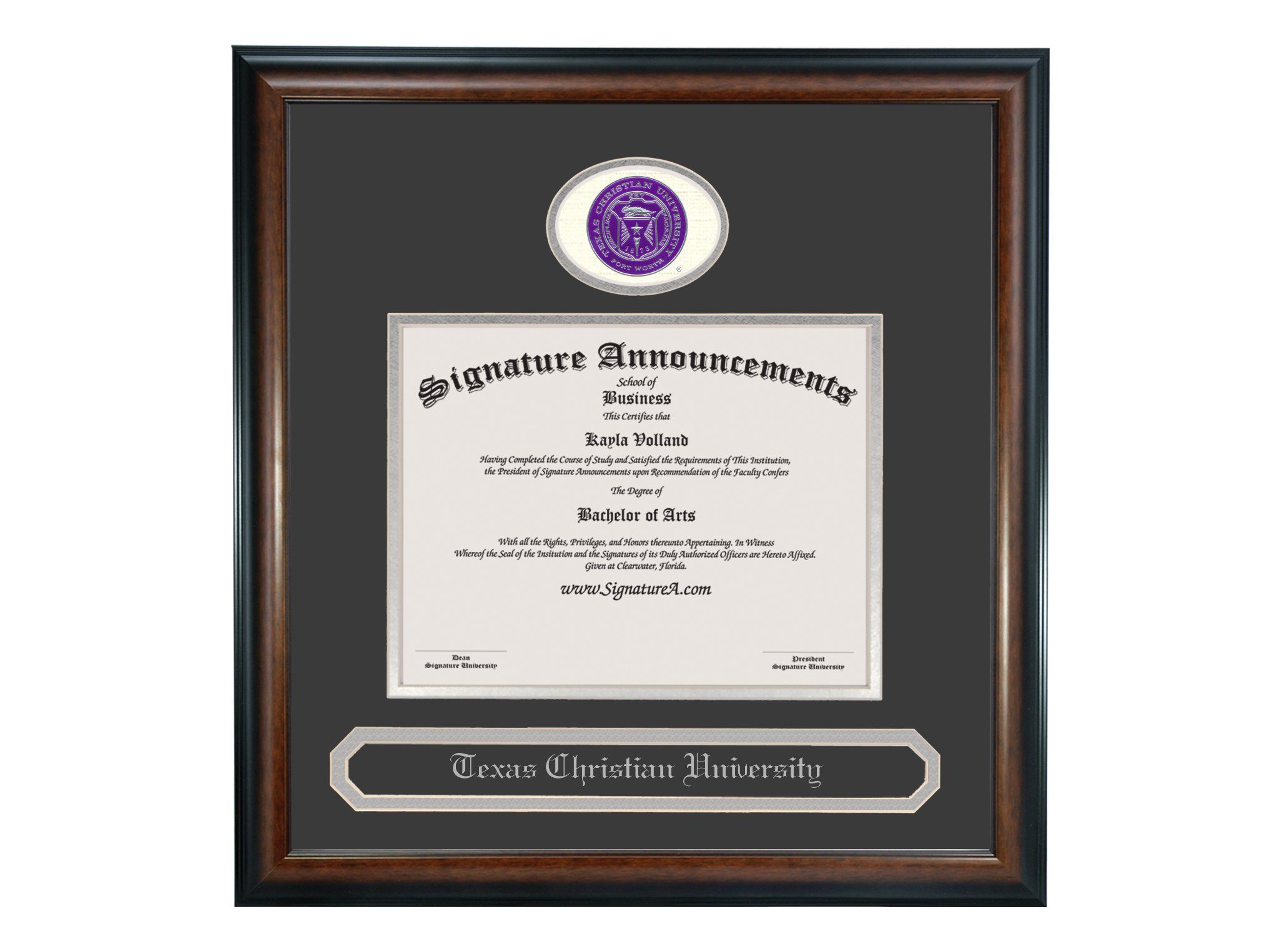 Signature Announcements Texas Christian University (TCU) Undergraduate and Graduate/Professional/Doctor Graduation Diploma Frame with Sculpted Foil Seal & Name (Matte Mahogany, 16 x 16) by Signature Announcements