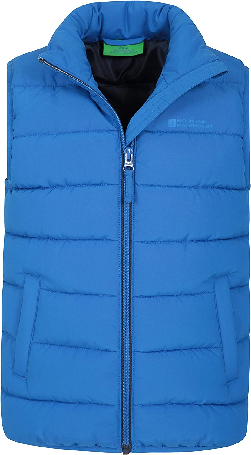 Mountain Warehouse Rocko Kids Padded Gilet Water Resistant Rain Coat Ideal Body Warmer for Boys /& Girls Microfibre Padded Vest Two Front Pockets Childrens Jacket