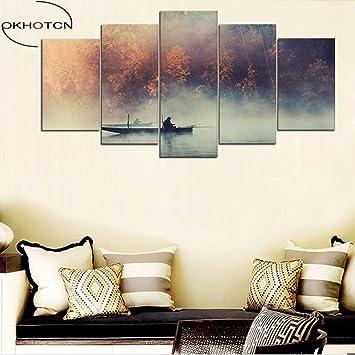 Gehören Gerahmte Nebligen See Landschaften Poster Home Decor Wohnzimmer  Leinwand Wand Kunst Angeln Anzeigen Malerei 5