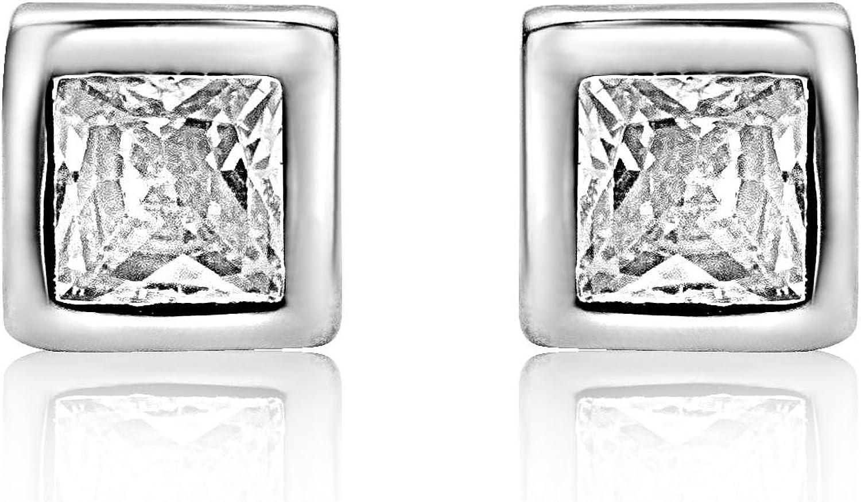 9 carats 0.38 gr Or Blanc 375//1000 Boucles dOreilles Femme Miore
