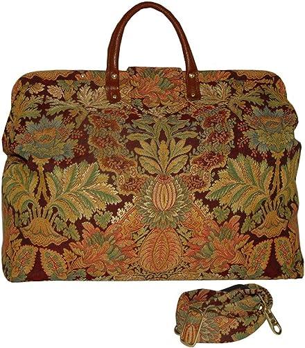 FlyingNeedleGallery s Burgundy Floral Medallion Carpet Bag