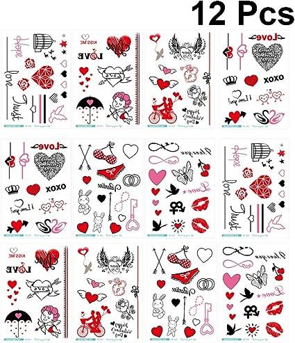 Amosfun 12 hojas del día de san valentín pegatinas de tatuaje ...