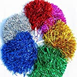 Lautechco 6Pcs Cheerleading Pom Poms Cheerleaders Hand Flowers Plastic Hand Stick Hand Flowers Pompoms Supplies (Random Color)