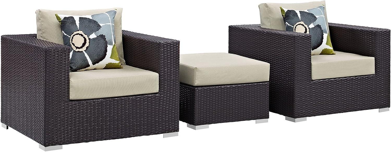 Modway Convene Wicker Rattan 3-Piece Outdoor Patio Furniture Set in Espresso Beige