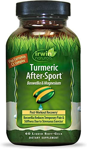 Irwin Naturals Turmeric After-Sport Post-Workout Recovery with Boswellia Magnesium – 60 Liquid Softgels