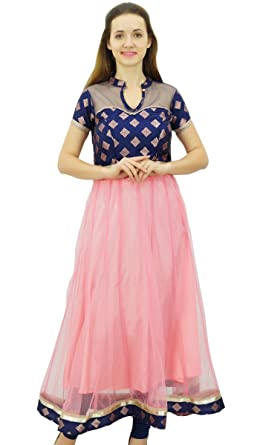 Bimba Women s Long Anarkali Kurti Dress Party Wear Indian Ethnic Clothing  Net Tunic Kurta 0b9aa20b7c