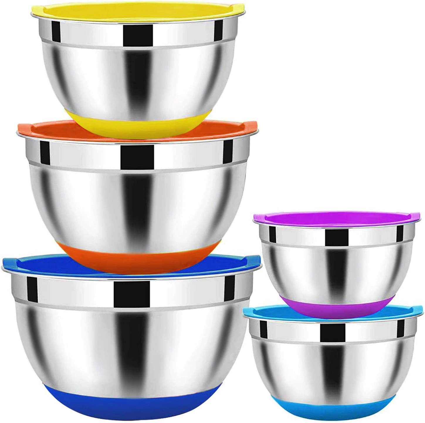 Newthinking Mixing Bowl with Lid Set of 5, Stainless Steel Nesting Mixing Bowl Set, Non-Slip Colorful Silicone Bottom Nesting Storage Bowls for Cooking, Mixing, Baking, Serving, Food Storage