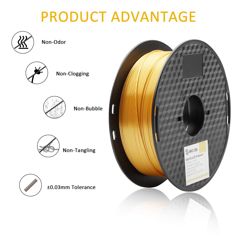 Silky Shiny 3D Printer Filament for 3D Prin MKOEM Silk Gold PLA Filament 1.75mm