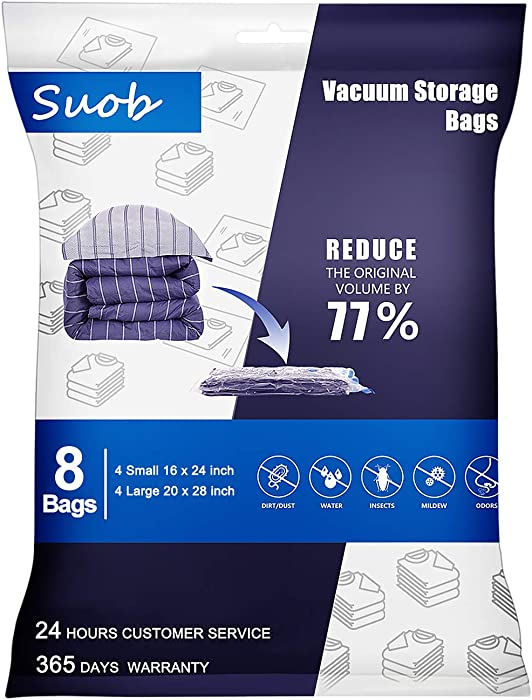 Suob Vacuum Storage Bags, 8 Pack Space Saver Compression Bags (4 x Large, 4 x Small) 77% More Storage for Blanket, Pillows, Clothes and Bedding