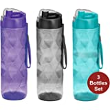 Milton Homery Sports Water Drink Bottles Adults Leakproof Freezer-Safe BPA-Free 35oz 3Pk Wide-Mouth Big Plastic Bottles w/Strap Carry Handles For Men & Women Cycling Camping Gym Hiking Yoga Fitness