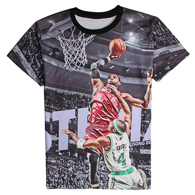 391cc5e0 Image Unavailable. Image not available for. Color: T-shirt 3D Print LeBron  James Shooting Basketball Hip Hop Short Sleeves ...