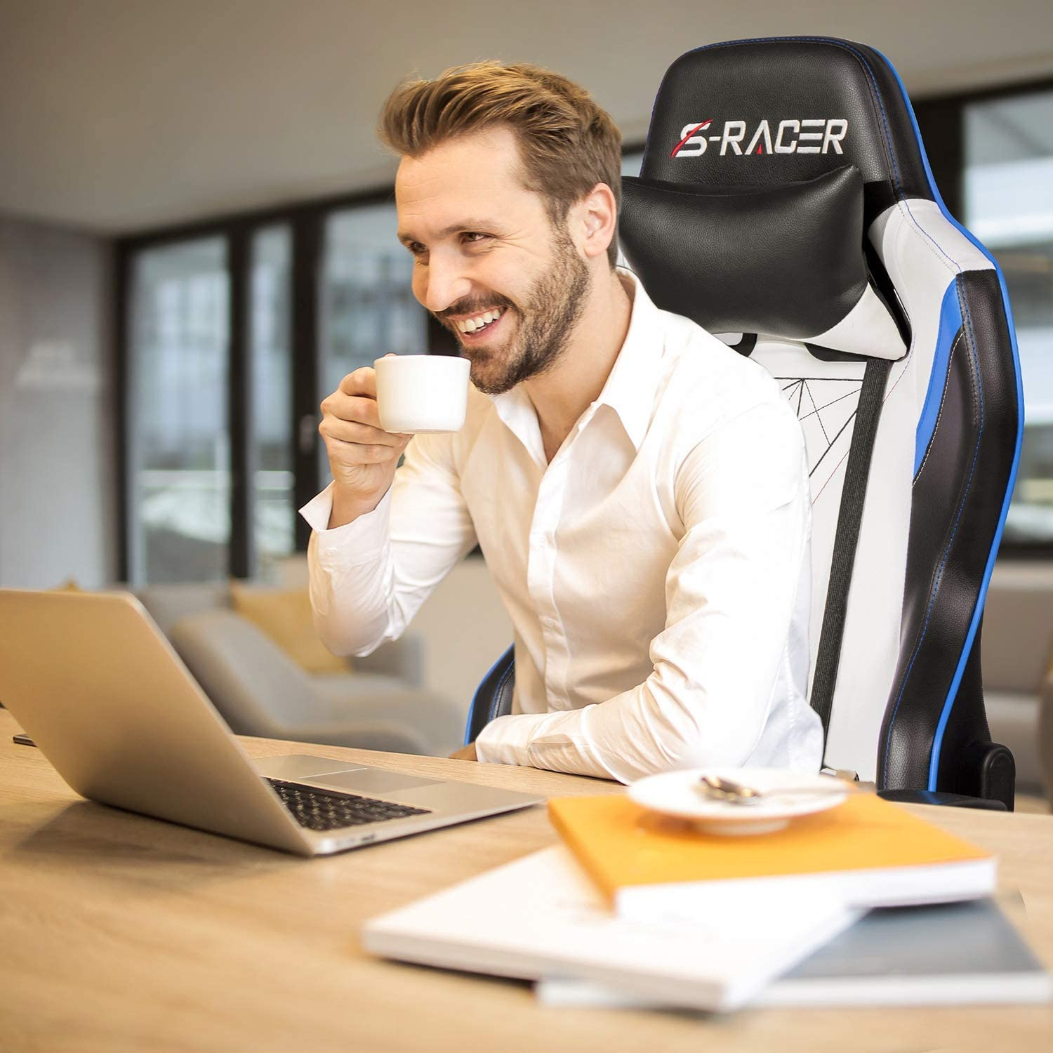 Blue//Black Homall Racing Office High Back PU Leather Computer Desk Video-Game-Chairs Renewed