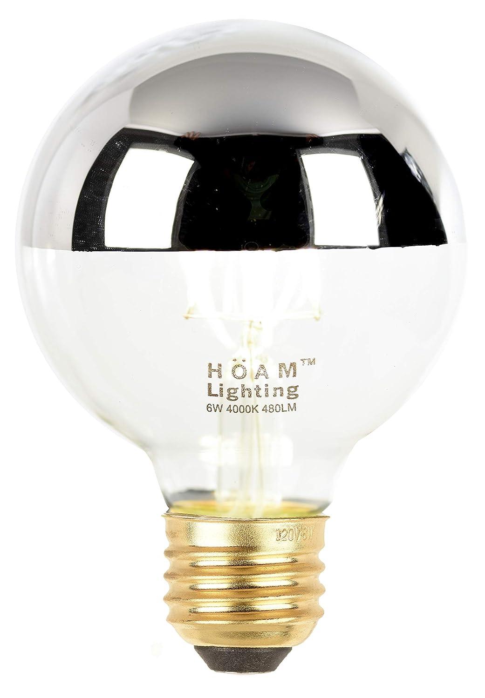 6W LED 60 Watt Incandescent Equivalent 4000K Warm White Light,110V 120V E26 E27 Base HOAM Lighting Silver Dipped Dimmable Edison LED Bulb