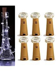 AUHOMIE [6-Pack] Wine Cork Bottle Lights,20Leds Fairy Lights 6.5Ft Silvery Copper Wire Fairy String Lights for Any Bottle, Party,Wedding Decor (Daylight White)