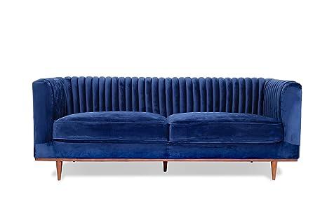 Amazon.com: FOXLEY Blue Velvet Sofa - Midcentury Modern Sofa for ...