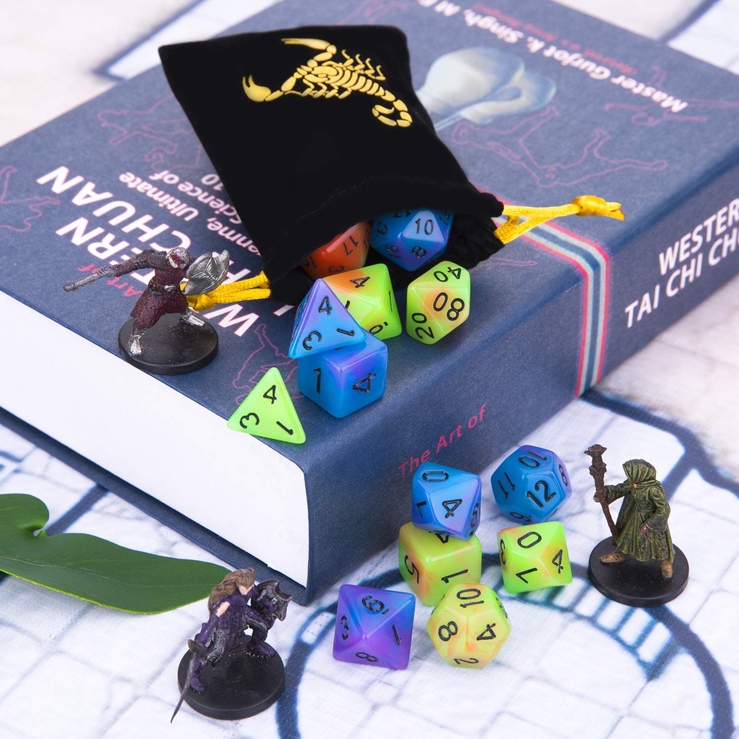 Double Color Glowing Polyhedral Dice 2 Set 14pcs Luminous RPG Dice Set d4 d6 d8 d10 d12 d20 d/% Colored Metal Box Packaging for Dungeons and Dragons DND RPG MTG Table Games