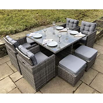 Owo Living Luxury Milan Grey Rattan Garden Furniture Set 8 Seater