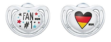 NUK Freestyle silicona de chupete de fútbol de Edition 10176210, Fan y corazón, kiefergerechte Forma, 2 unidades)