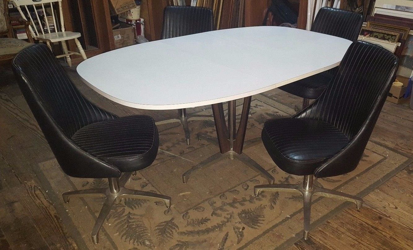 Vintage CHROMCRAFT White Formica Dinning Table w 4 Black Vinyl Swivel Chairs WOW