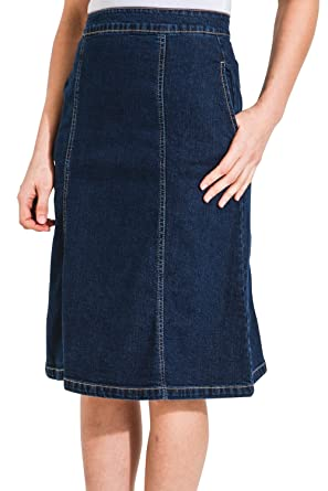0e80cbf496 Uskees Molly Mid-Length Denim Skirt - Darkwash Panelled Jean Skirt with  Stretch MOLLYDW-22: Amazon.co.uk: Clothing