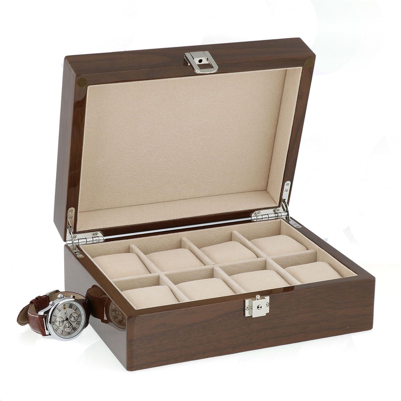 Lackiert Nussbaum Armbanduhr Sammler Box fÜr 8 Handgelenk Uhren von aevitas