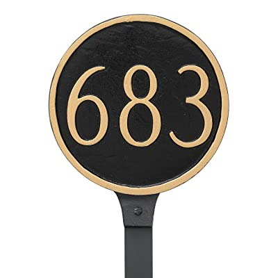 "Montague Metal Circle Address Sign Plaque with Lawn Stake, 6.5"" x 6.5"", Black/Gold : Garden & Outdoor"
