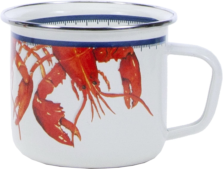 Golden Rabbit Enamelware - Lobster Pattern - 24 Ounce Soup Mug, 3.75 Inch Tall