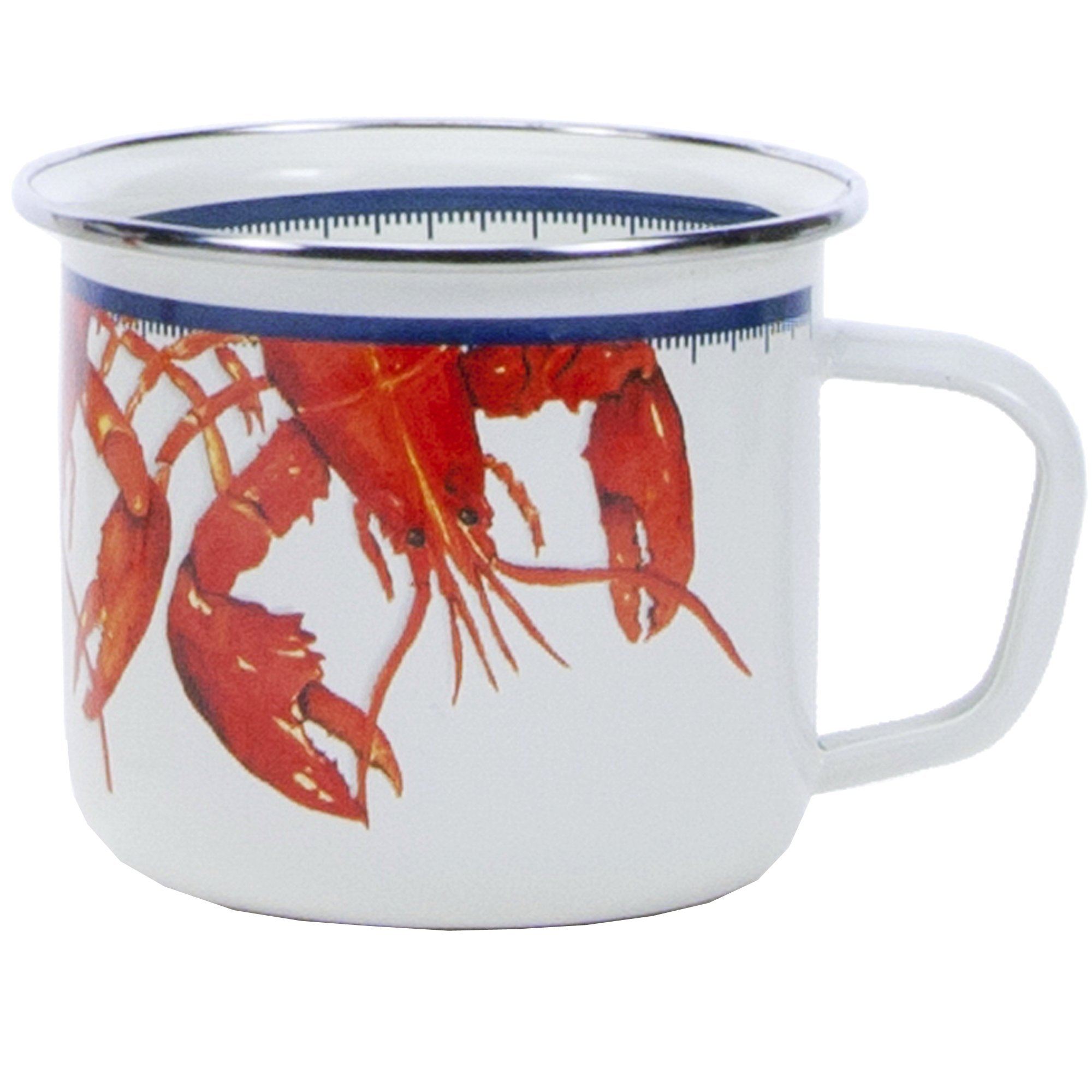 Enamelware - Lobster Pattern - 24 Ounce Soup Mug, 3.75 Inch Tall