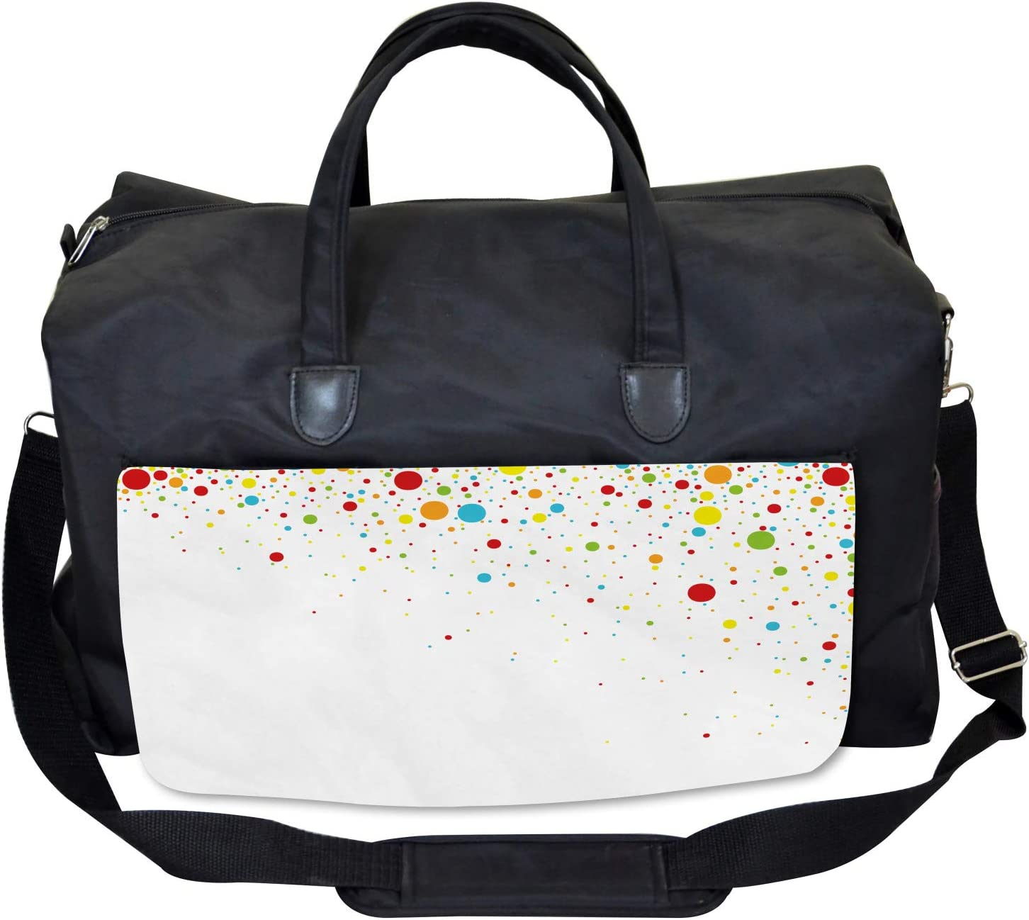 Large Weekender Carry-on Ambesonne Colorful Gym Bag Spots Like Confetti