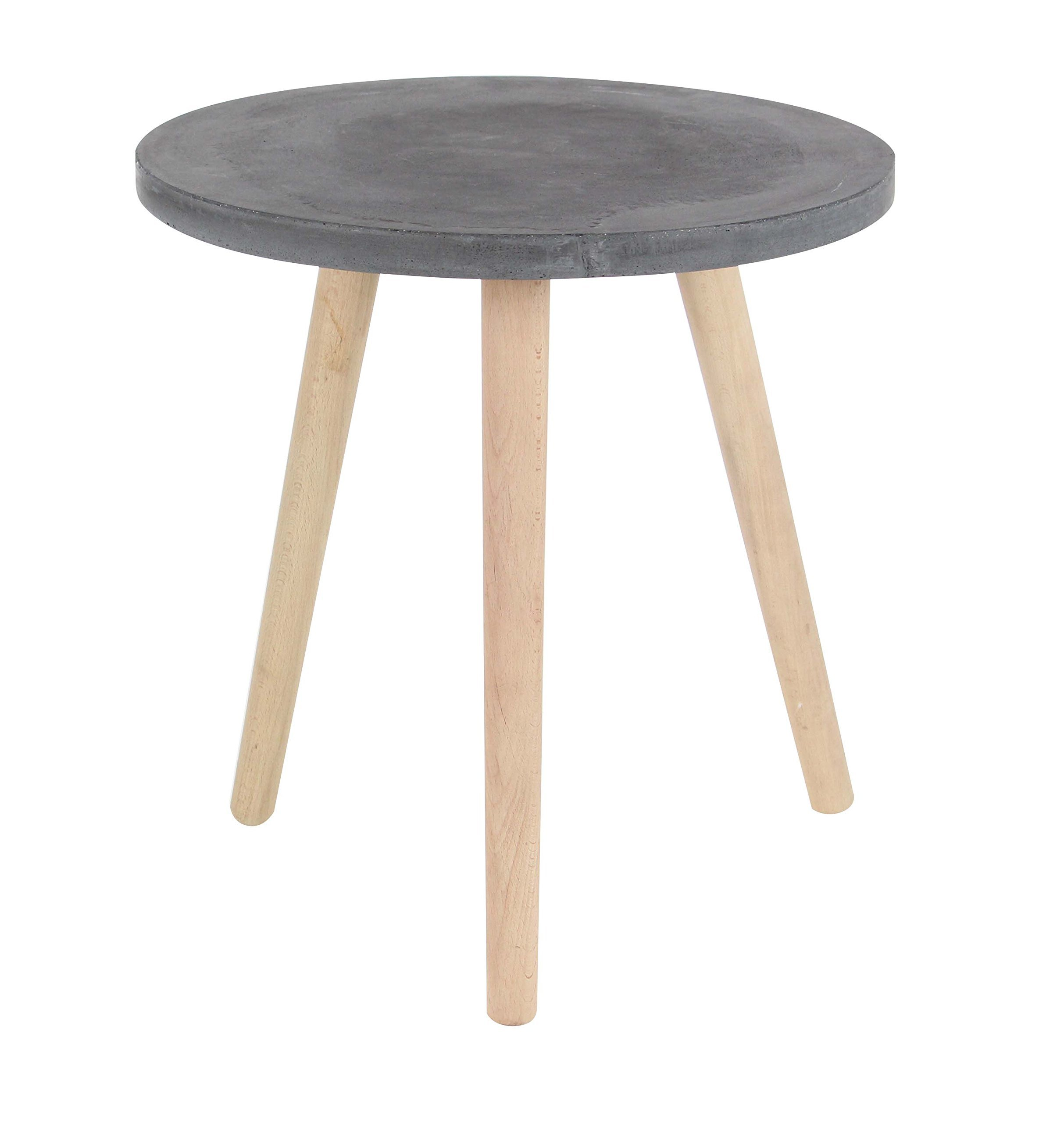 Deco 79 Wood and Fiber Clay Table, Black/Brown