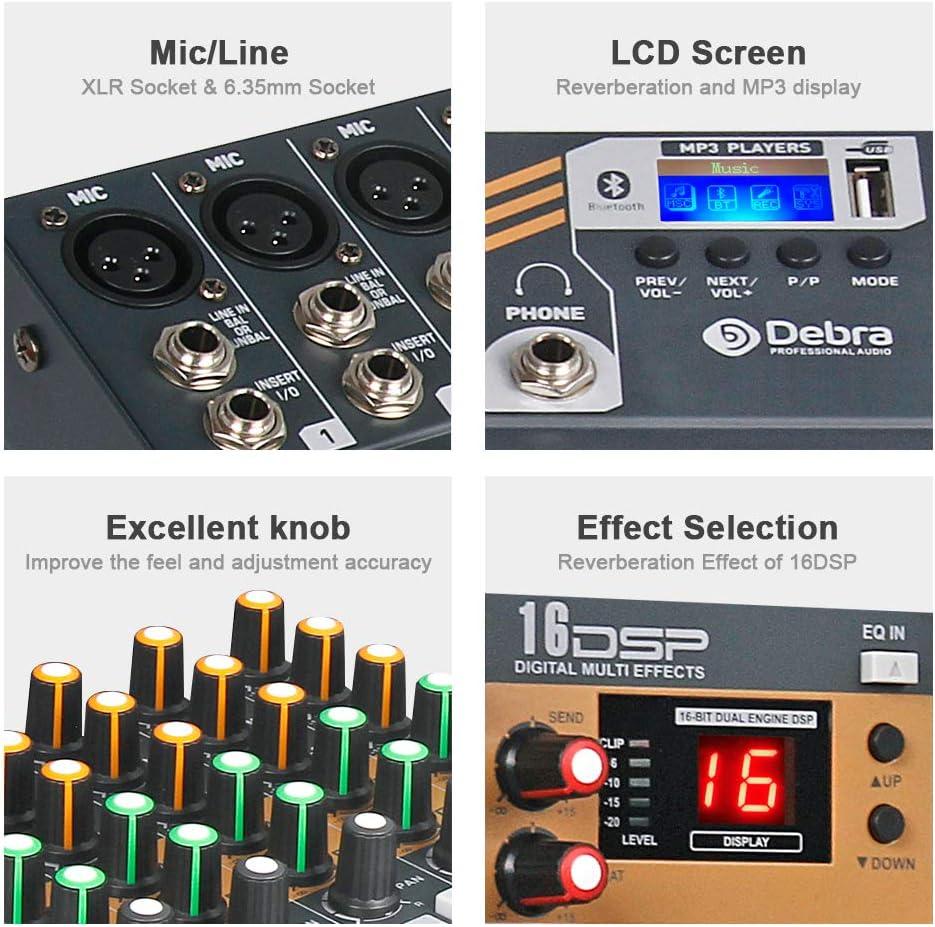 Debra Audio EVA series new update!! XLR Mic Jack DJ Sound Controller Interface USB Drive PC Recording Input 48V Power, 6//8//12 Channel Clean Sound Bluetooth Studio Mixer Audio 8 Channel