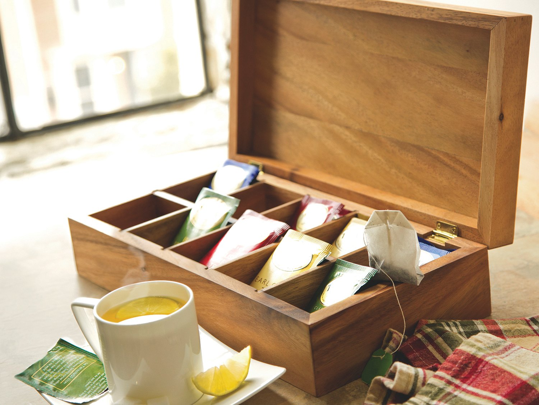Ironwood Gourmet 28142 Rectangular Vauxhall Double Tea Box, Acacia Wood by Ironwood Gourmet (Image #5)