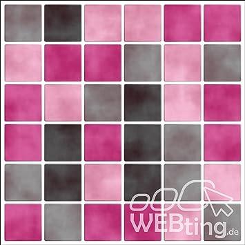 Mosaque rose stickers pour carrelage image imitation autocollant pour salle de bain cuisine - Stickers pour salle de bain sur carrelage ...
