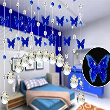 Butterfly Shower Curtain Tuscom Crystal Glass Bead Blue