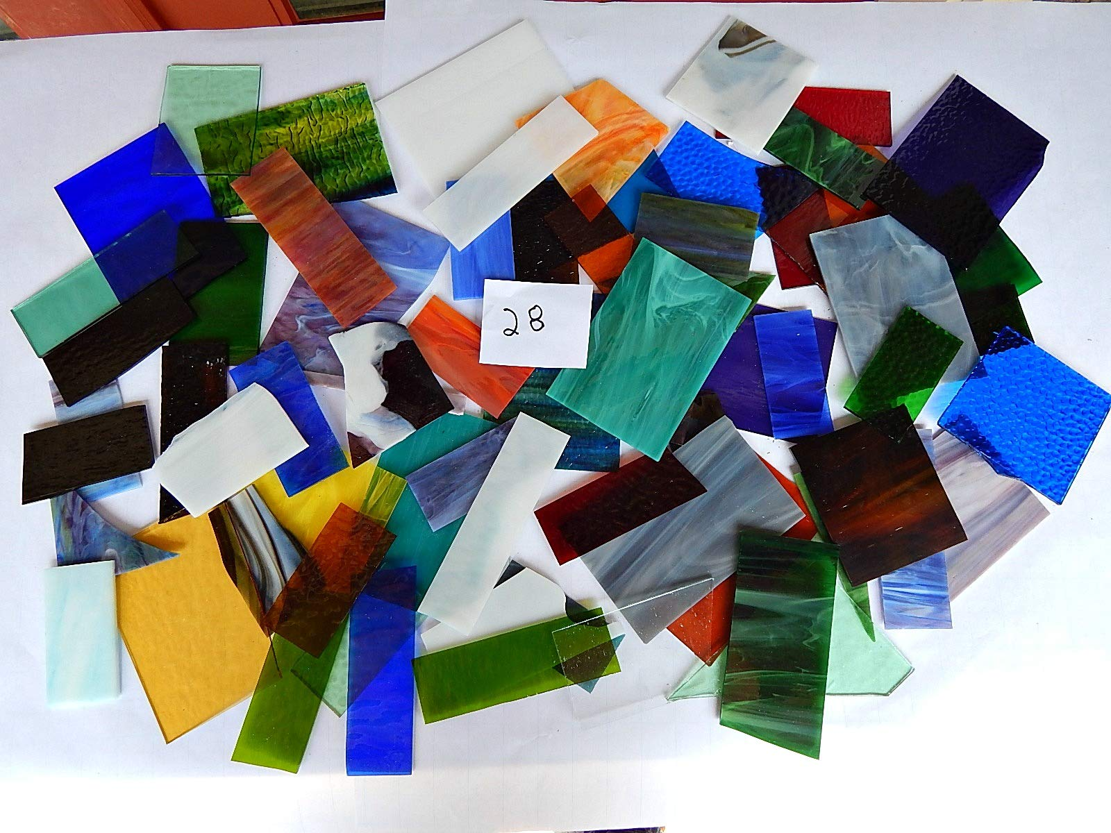Over 10 LBS Larger Pieces Spectrum Wissmach Stained Glass Mosaic Scrap LOT#28