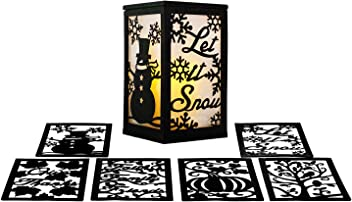 ReLive Flameless 3 Season LED Lantern Includes Twelve Magnetic Seasonally Themed Panels