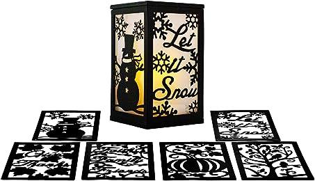 ReLIVE Flameless 3 Season LED Lantern Includes Twelve Magnetic Seasonally Themed Panels