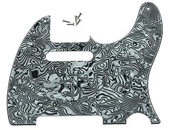 kaish Vintage 5 agujero tele guitarra Golpeador negro blanco carcasa para nosotros/Mexican Telecaster: Amazon.es: Instrumentos musicales
