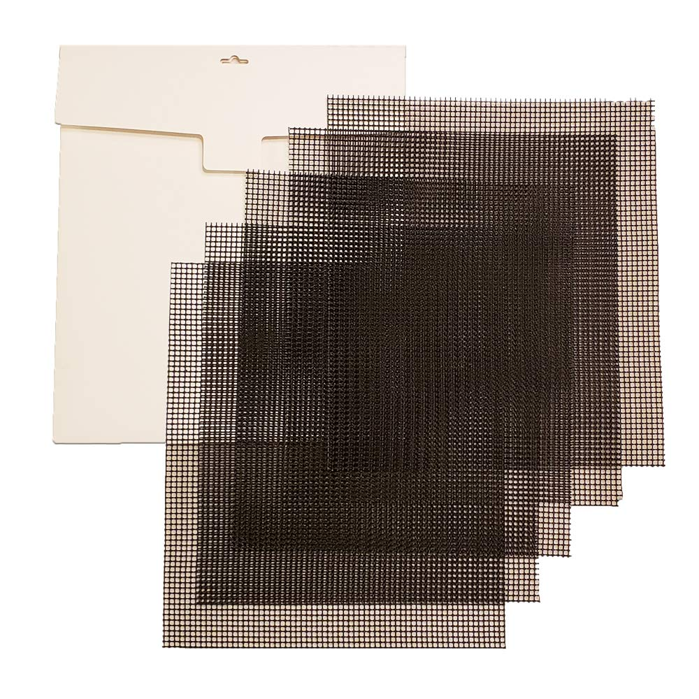 Simply Homey Dehydrator Mesh Sheets - 14 x 14 Reusable, Permeable, Tray Inserts - 5 Black Flexible Weave Fiberglass Sheets Coated with Non-Stick Teflon