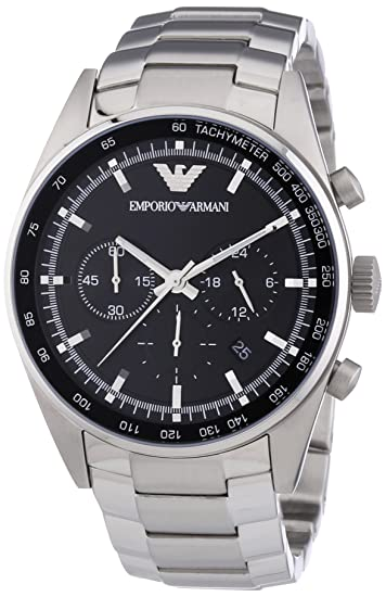 detailed look latest fashion size 40 Emporio Armani Men's Sportivo AR5980 Silver Stainless-Steel Quartz Watch  with Black Dial