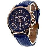 Male Leather Belt Watches Three Six-Pin Quartz Watches Quartz Watch Royal Blue