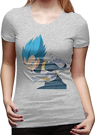 Las Mujeres diseñaron la Camiseta Superior Vegeta Dragon Ball Logo Manga Corta Camiseta de Moda: Amazon.es: Ropa y accesorios