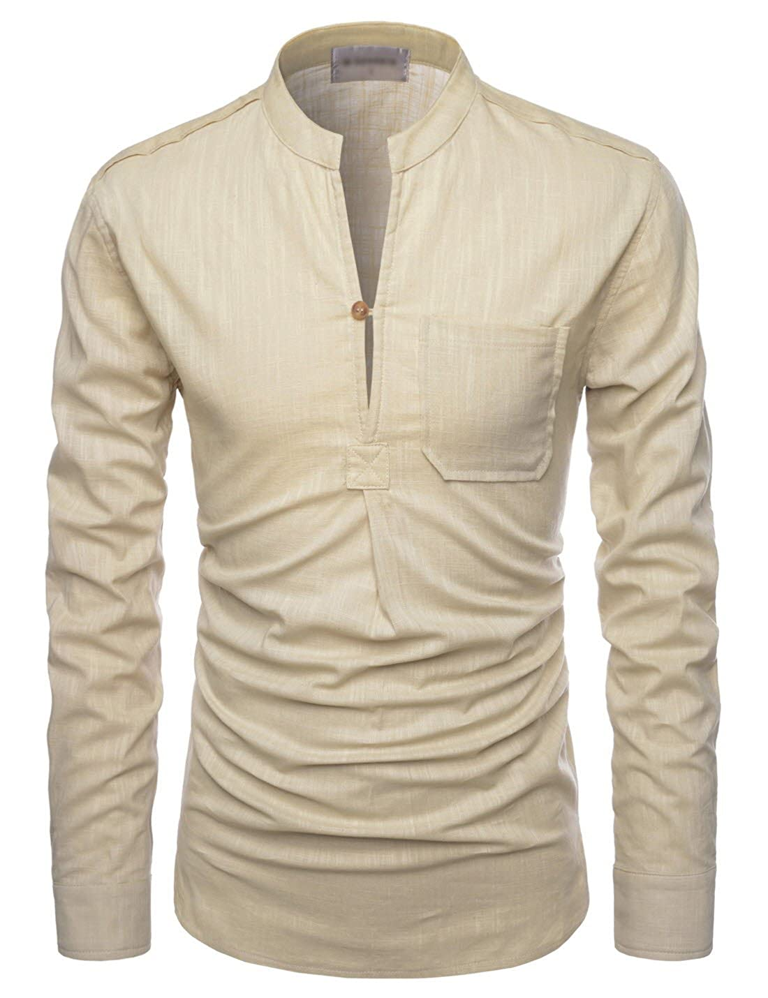 Showblanc Attractive Mens Chinese Collar Henley Linen Casual Shirts