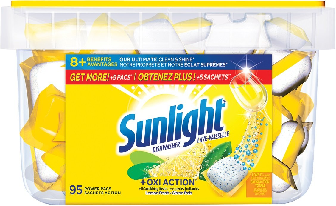 Sunlight Lemon Fresh Dishwasher Power Pacs, 95 Count The Sun Products Corp.