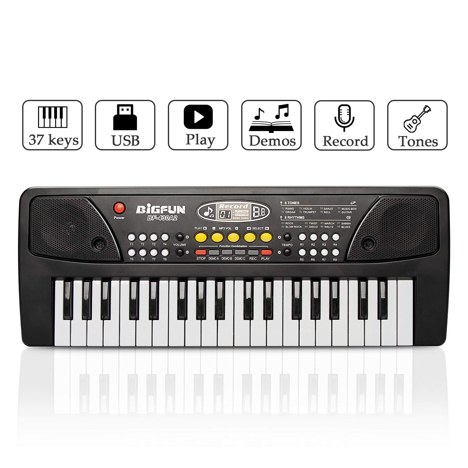 JINRUCHE Piano for Kids, 37Keys Multi-Function Electronic Keyboard Piano Play Piano Organ with Microphone and U-Disk Play Music Educational Toy for Toddlers Kids Children (Black)