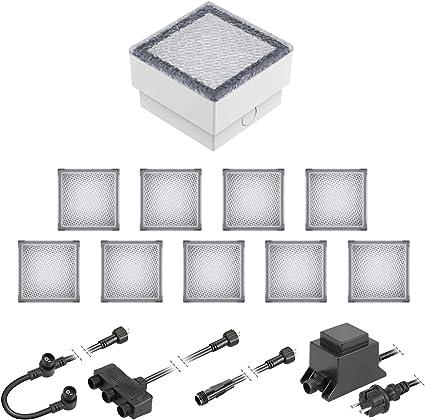 warm-wei/ß 2er Set 10x10cm ledscom.de LED Pflaster-Stein Gorgon Boden-Einbauleuchte f/ür au/ßen 12V