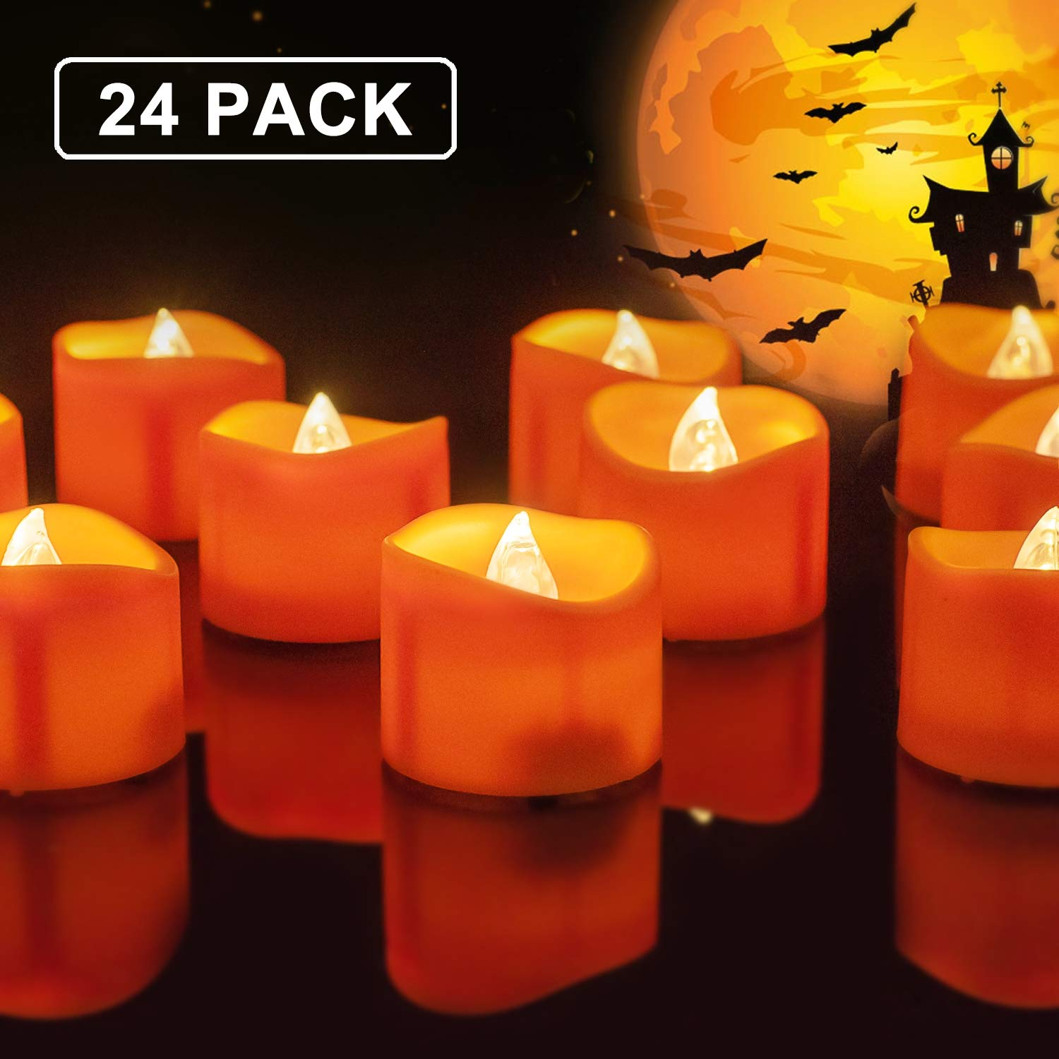 Homemory 24 Pack Battery Operated LED Tea Lights, Orange Flameless Votive Tealights with Warm White Flickering Lights, Small Electric Fake Tea Candles Realistic for Halloween, Pumpkin Lanterns by Homemory