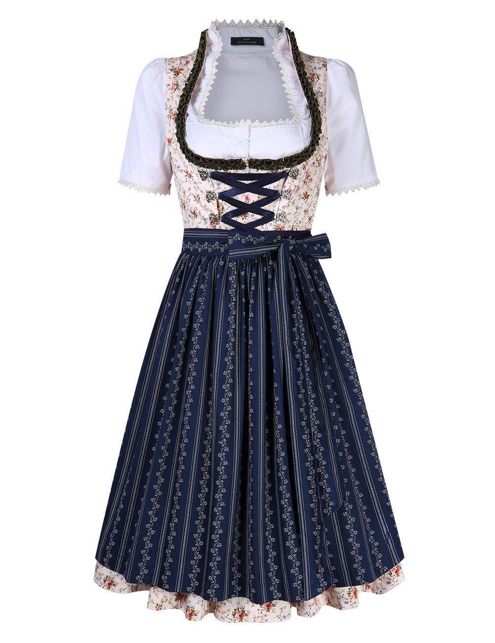 Leoie Women's Floral Criss- Cross Tie Layered Casual Dresses Suit for Oktoberfest by Leoie
